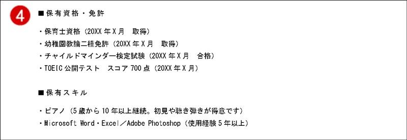 職務経歴書(MSゴシック)資格