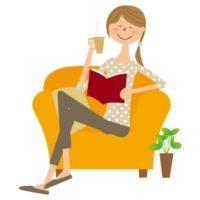 イラスト_ソファに座る女性