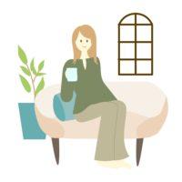 イラスト_リラックスする女性