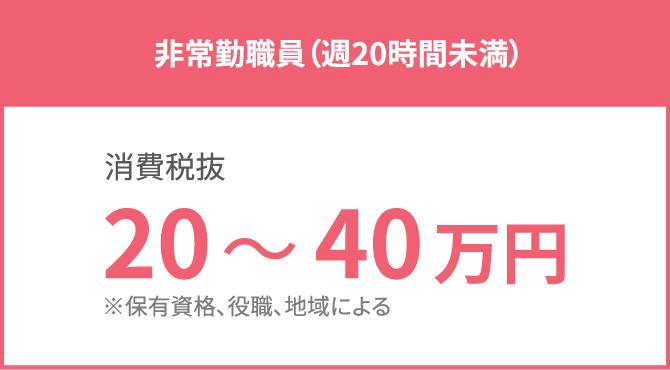 非常勤職員(週20時間未満):20~40万円